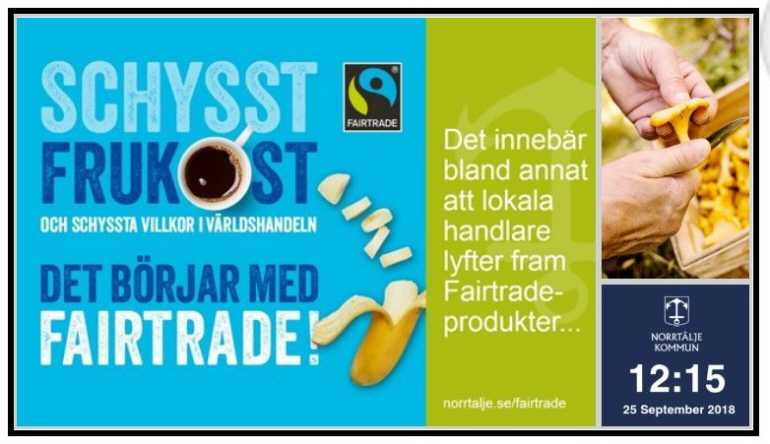 Digital skylt med Fairtrade frukost.